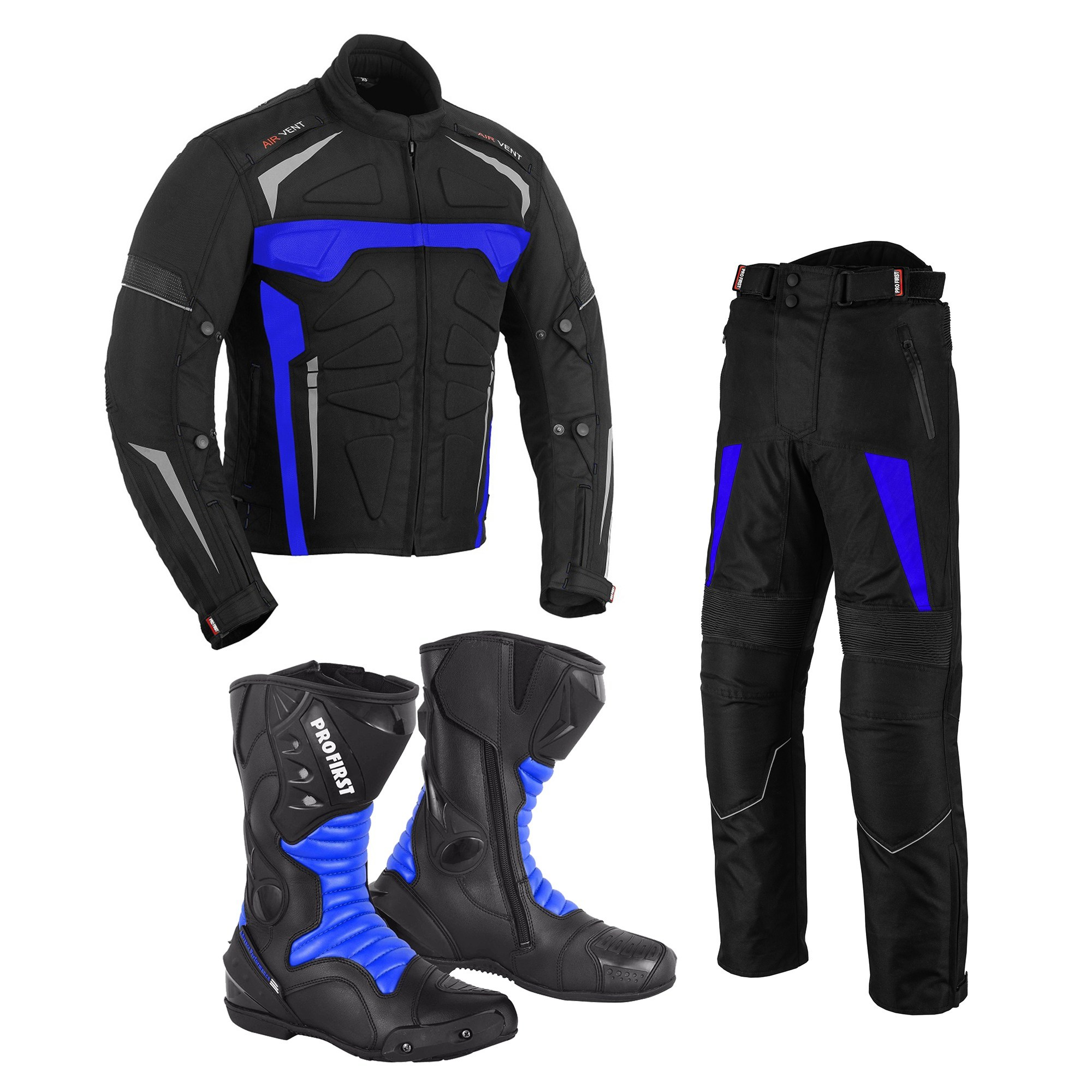 Full Black PROFIRST Motorbike Motorcycle Summer Jacket Hot Weather Gears Coats Cordura Fabric CE Approved Armoured