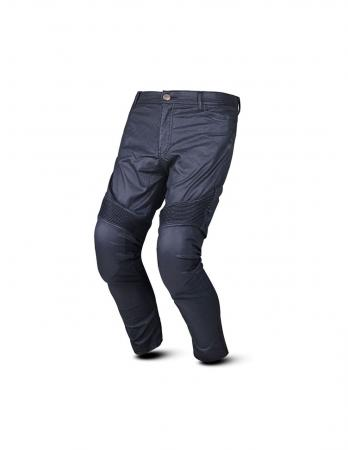 motorcycle pants with Wax Coated Fabric, textile motorcycle pants with Kevlar Fabric, textile motorcycle pants with Denim Hi Flex offering great freedom of movement, textile motorcycle pants with adjustable waist belt, textile motorcycle pants with CE Approved removable knee and hip protectors provided, textile motorcycle pants with Easily Accessible knees and hips protective pockets, textile motorcycle pants with Knee Protectors adjustable in height by Velcro system for a perfect fit, textile motorcycle pants with Button and Zip closure