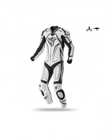 R-Tech Rising Star Motorcycle Leather Racing Suit White/Black