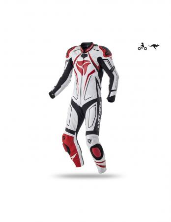 R-Tech Rising Star Motorcycle Leather Racing Suit white/black/red