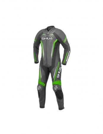 Shua Infinity 1PC Motorcycle Leather Racing Suit (Black/Green)