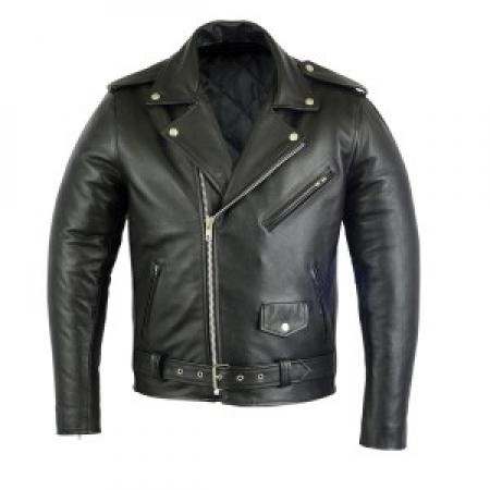 PROFIRST BRANDO LEATHER MOTORCYCLE JACKET WITH ARMORED (BLACK)