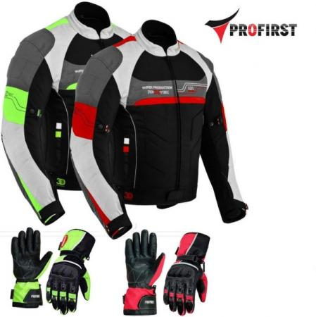 PROFIRST TEXTILE MOTORCYCLE JACKET WITH LEATHER GLOVES