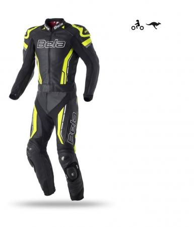 Bela Rocket Mix Kangaroo Man 2PC Leather Suit (Black/Yellow Fluorescent)