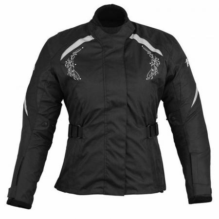 PROFIRST A STAR LADIES MOTORCYCLE JACKET (BLACK & SILVER)