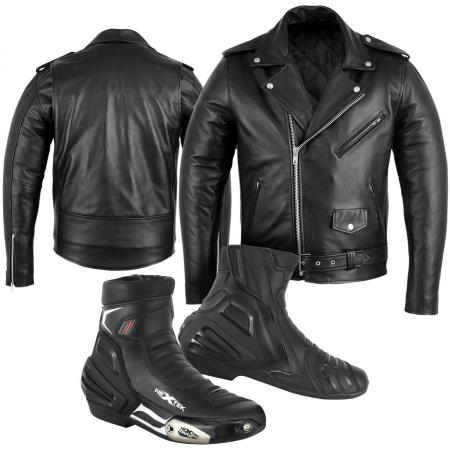Pure Leather Bikers Jacket WITH CE Approved Protectors, Leather Waterproof Biker Shoes