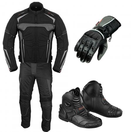 PROFIRST MOTO SUIT LEATHER GLOVES & BLACK SHOES (GREY)
